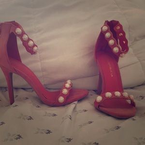Pink Sandal with pearl straps